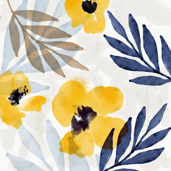 Leafs Mixed Media - Yellow And Navy 3- Floral Art By Linda Woods by Linda Woods
