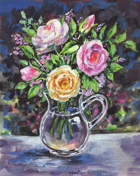 Painting - Yellow And Pink Roses Bouquet Floral Impressionism  by Irina Sztukowski