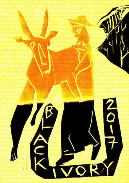 Digital Art - Yellow Antelope Black Ivory Woodcut Poster 15 by Artist Dot