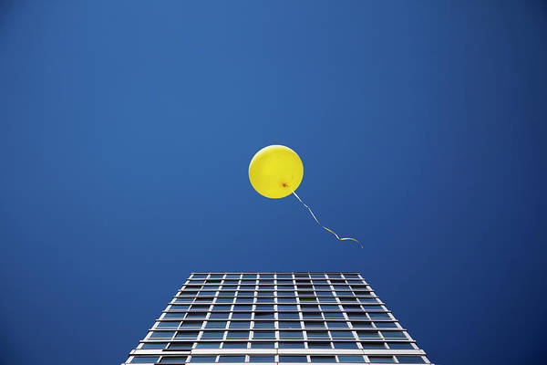 Freedom Photograph - Yellow Balloon Floating Past Single by Thomas Jackson