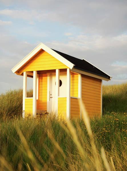 Skane Photograph - Yellow Bathing Hut by Elliot Elliot