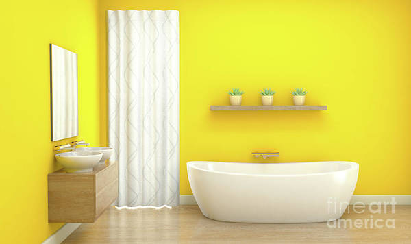 Wall Art - Digital Art - Yellow Bathroom Interior by Allan Swart
