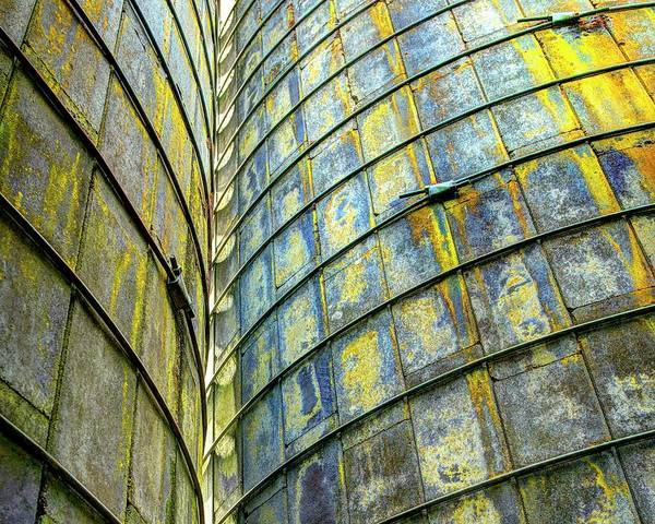 Photograph - Yellow Blue Lichen Silo Abstract by Jerry Sodorff
