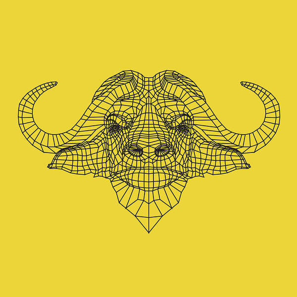 Wall Art - Digital Art - Yellow Buffalo by Naxart Studio