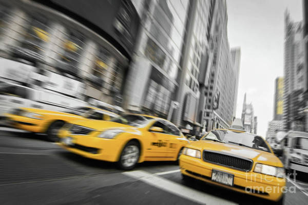 Wall Art - Photograph - Yellow Cabs In New York by Delphimages Photo Creations