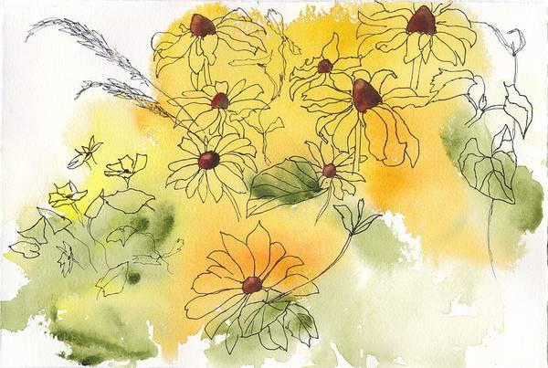 Painting - Yellow Coneflowers by Ruth Kamenev