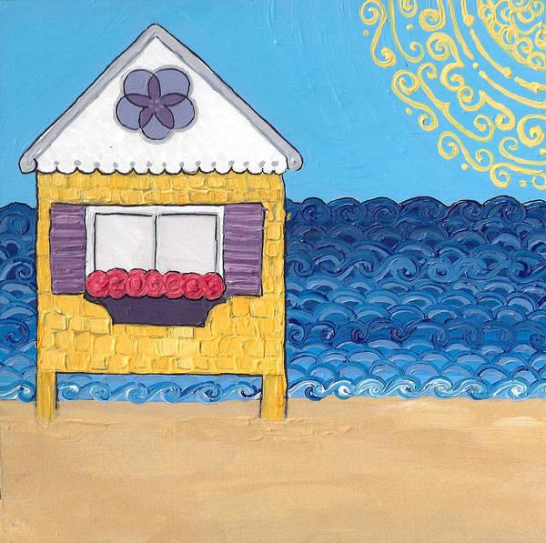 Yellow Cottage On The Beach Art Print