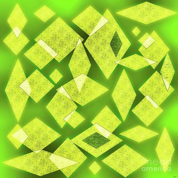Calculation Painting - Yellow Diamonds On Green by Eloise Schneider Mote