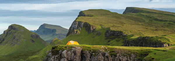 Tent Photograph - Yellow Dome Tent In Dramatic Mountain by Fotovoyager