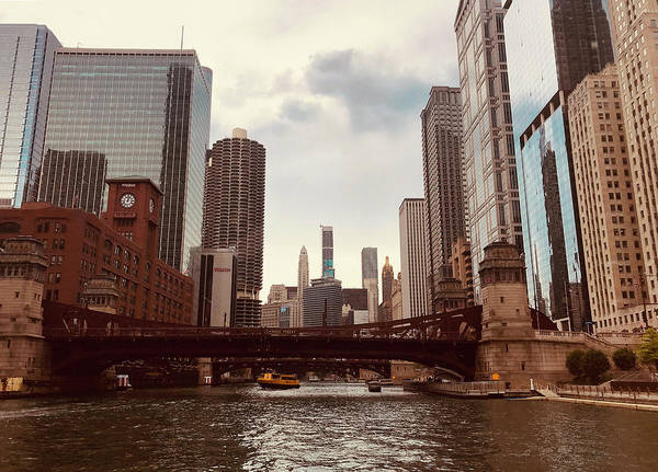 Photograph - Yellow Ferry Chicago River by Lorraine Devon Wilke