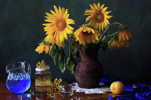Jar Photograph - Yellow Flowers by Panga Natalie Ukraine