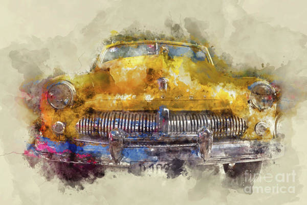 Wall Art - Painting - Yellow Ford Mercury by Delphimages Photo Creations