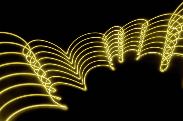Laser Photograph - Yellow Gold Abstract  Lights Trails And by John Rensten