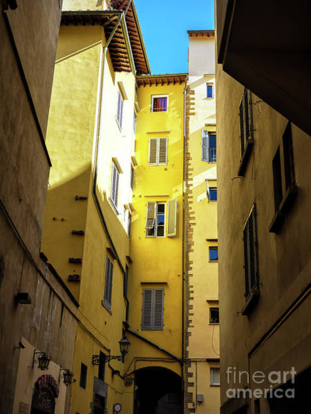Photograph - Yellow In The Alley Florence by John Rizzuto