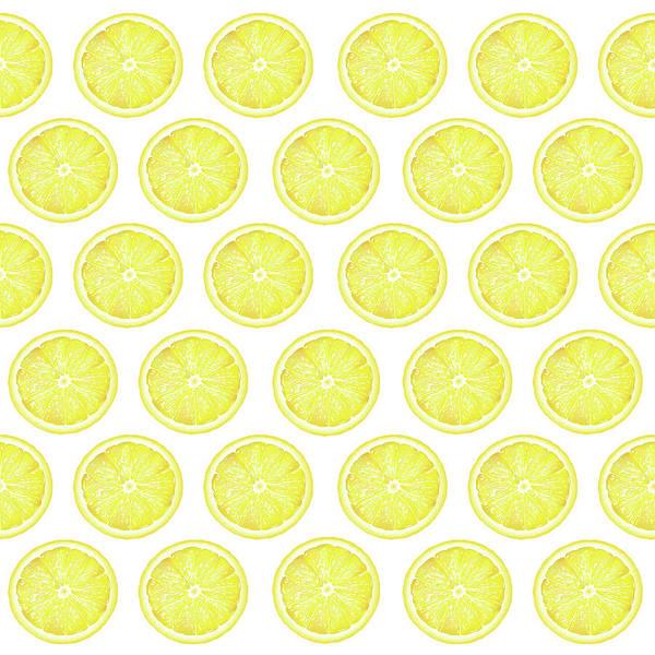 Lime Mixed Media - Yellow Lemon Slice Pattern 1 - Tropical Pattern - Tropical Print - Lemon - Fruit - Yellow by Studio Grafiikka