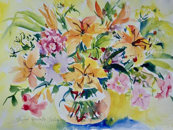 Painting - Yellow Lilies by Ingrid Dohm