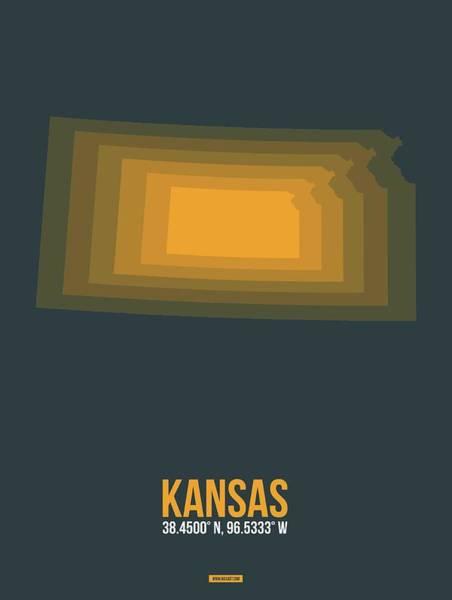 Topeka Wall Art - Digital Art - Yellow Map Of Kansas  by Naxart Studio