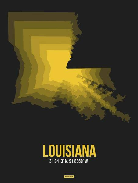 Louisiana Digital Art - Yellow Map Of Louisiana by Naxart Studio