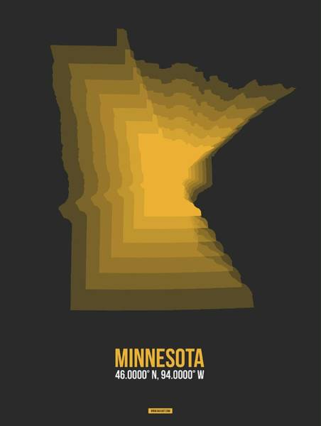 Wall Art - Digital Art - Yellow Map Of Minnesota by Naxart Studio