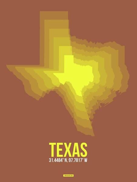 Wall Art - Photograph - Yellow Map Of Texas by Naxart Studio