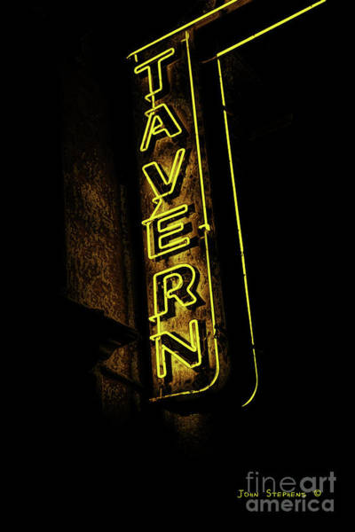 Wall Art - Photograph - Yellow Neon Tavern Sign by John Stephens