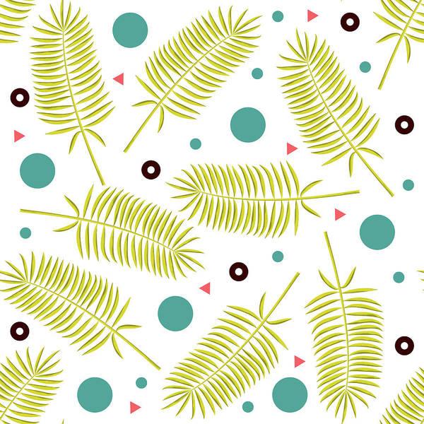 Wall Art - Mixed Media - Yellow Palm Leaf Pattern - Blue Circles - Geometric Pattern - Mid Century Modern by Studio Grafiikka