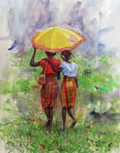 Saint Lucia Painting - Yellow Parasol by Jonathan Guy-Gladding JAG