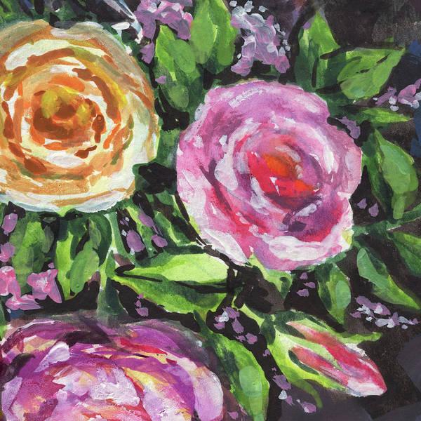 Wall Art - Painting - Yellow Pink Flowers Bouquet Floral Impressionism  by Irina Sztukowski