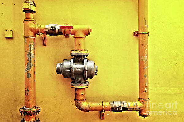 Wall Art - Photograph - Yellow Pipes by Delphimages Photo Creations
