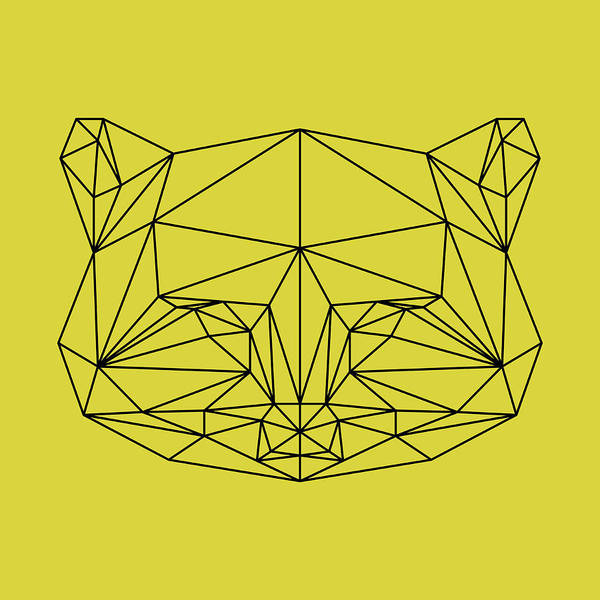 Animals In Clothes Wall Art - Digital Art - Yellow Raccoon Polygon by Naxart Studio