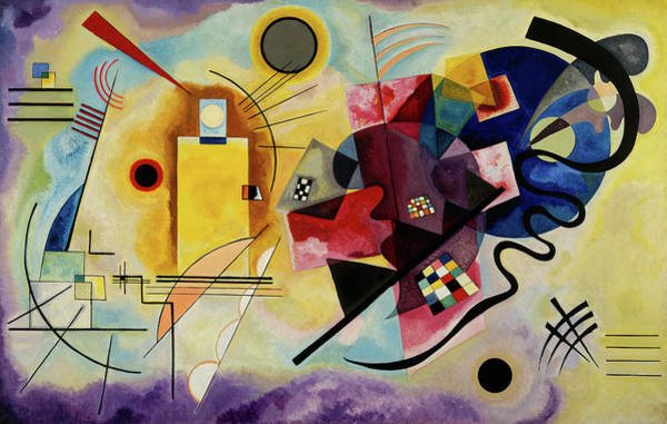 Visual Illusion Wall Art - Painting - Yellow, Red, Blue - Jaune, Rouge, Bleu, 1925 by Wassily Kandinsky
