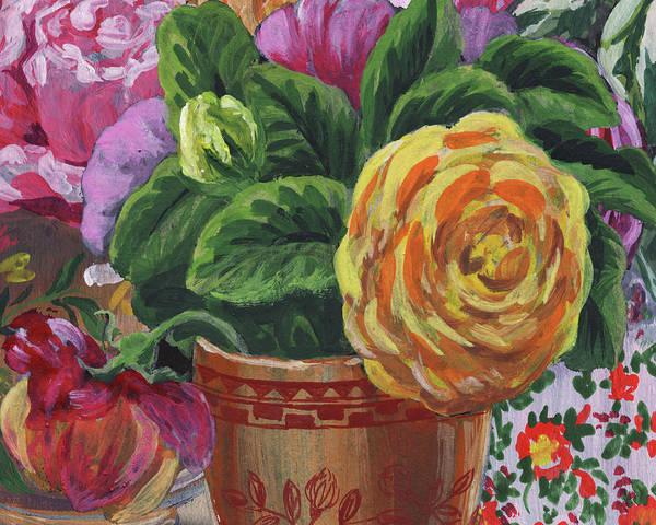 Wall Art - Painting - Yellow Rose In Garden Vase Impressionism by Irina Sztukowski