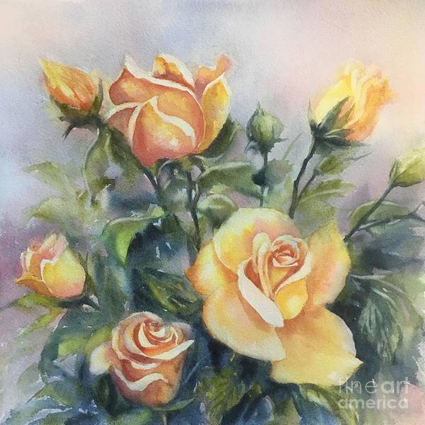 Wall Art - Painting - Yellow Roses by Ekaterina Mortensen