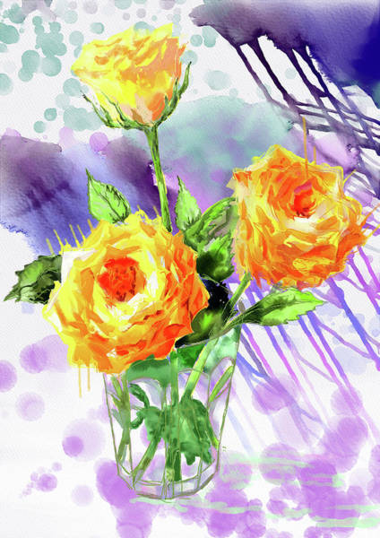 Painting - Yellow Roses In A Glass by Xavier Francois