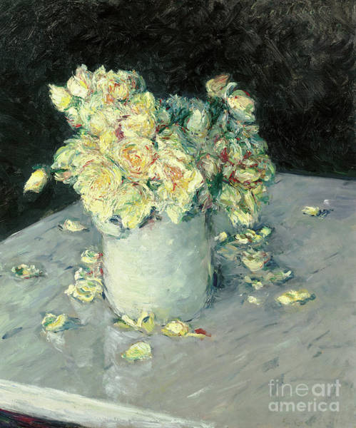Containers Painting - Yellow Roses In A Vase, 1882 by Gustave Caillebotte