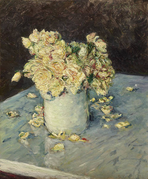 Rosebud Wall Art - Painting - Yellow Roses In A Vase by Gustave Caillebotte