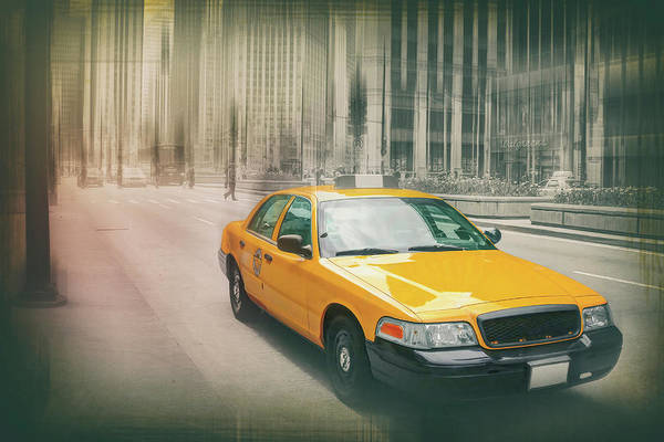 Yellow Taxi Photograph - Yellow Taxi Cab Downtown Chicago  by Carol Japp