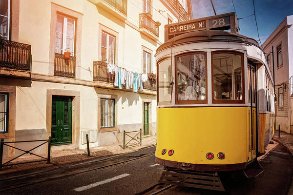Wall Art - Photograph - Yellow Tram 28 Lisbon Portugal  by Carol Japp