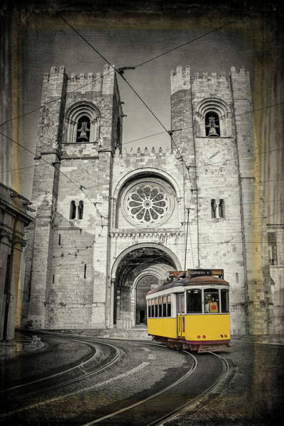 Wall Art - Photograph - Yellow Tram And Cathedral Lisbon Portugal by Carol Japp