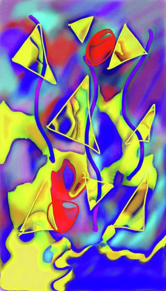 Wall Art - Digital Art - Yellow Triangles Abstract by Cindy Boyd