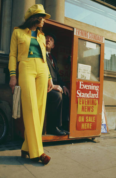 Newspaper Photograph - Yellow Trouser Suit by Hulton Archive