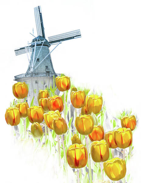 Photograph - Yellow Tulips With The Dezwaan Windmill by Randall Nyhof