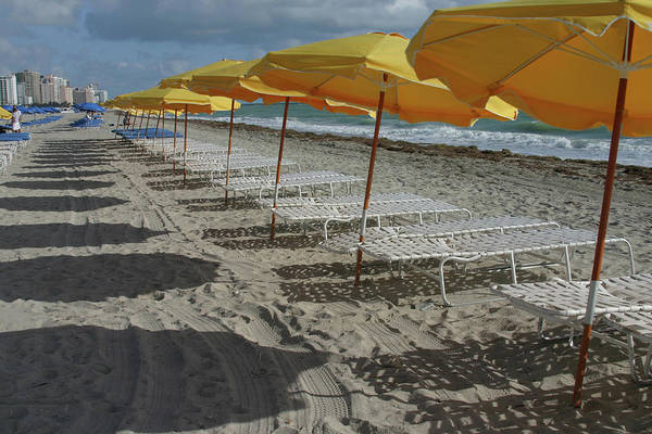 Lounge Chair Photograph - Yellow Umbrellas In South Beach by Theresemck
