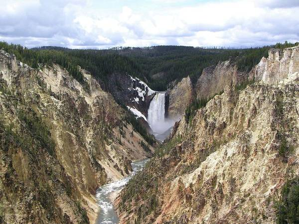 Yellowstone Canyon Photograph - Yellowstone Artists Point View by Sandy L. Kirkner