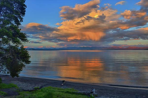 Photograph - Yellowstone Lake Sunset by Greg Norrell