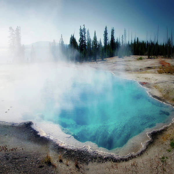Wall Art - Photograph - Yellowstone National Park Abyss Pool Sq Format by Thomas Woolworth