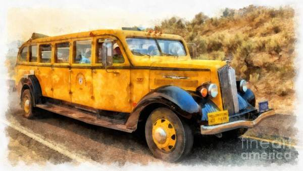 National Park Digital Art - Yellowstone National Park Vintage Coach by Edward Fielding