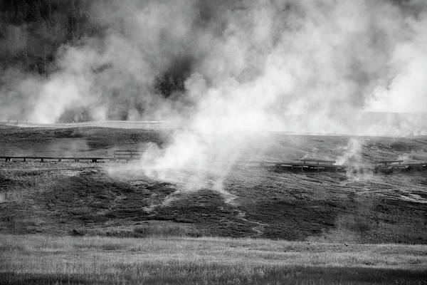 Photograph - Yellowstone Steam 02 Black And White by Bruce Gourley