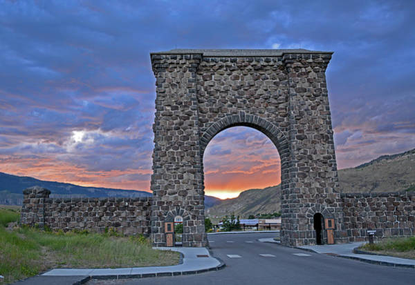 Photograph - Yellowstone's Roosevelt Arch At Sunset by Bruce Gourley