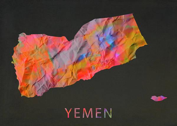 Wall Art - Mixed Media - Yemen Tie Dye Country Map by Design Turnpike